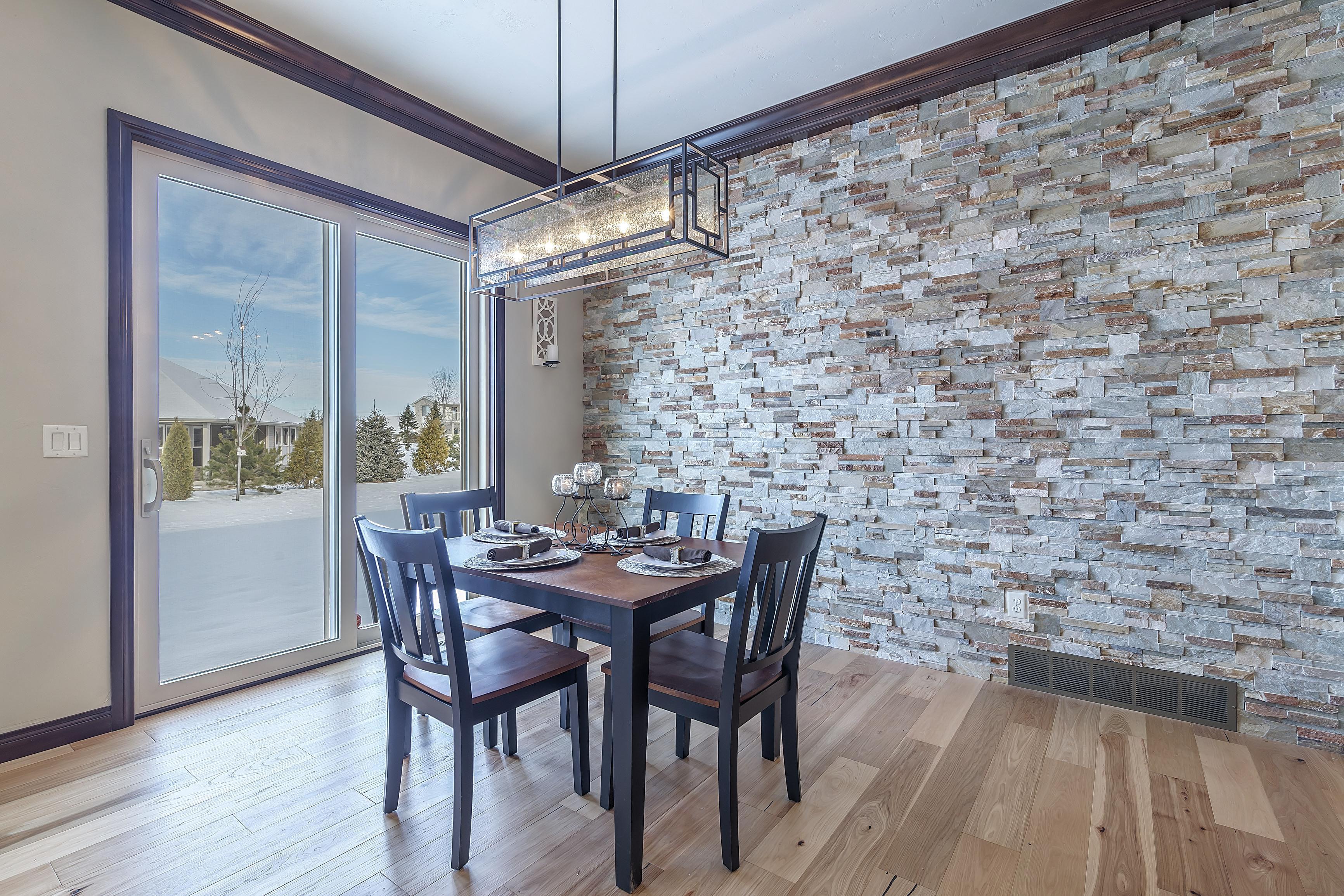 Dining Room with Masonry Wall